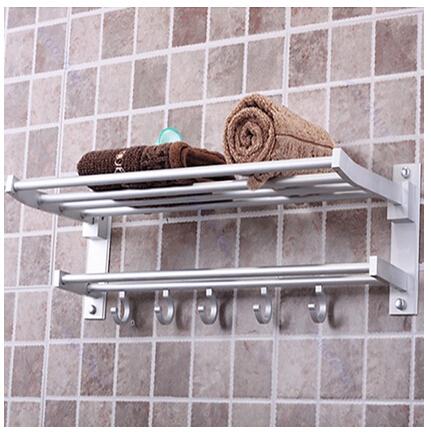 Foldable Alumimum Towel Bar Set Rack Tower Holder Hanger Bathroom Hotel Shelf(China (Mainland))