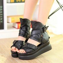 COVOYYAR 2019 Sommer Nieten Gladiator Sandalen Frauen Keile Casual Schuhe Zurück Zip Frauen Booties Schwarz Schuhe Große Größen WSS353(China)