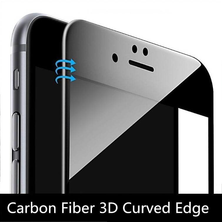 9H 0.26mm Glossy Carbon Fiber 3D Curved Edge Coated Tempered Glass For iPhone 7 6 6S 6 Plus Phone Screen Protector Glass Film(China (Mainland))