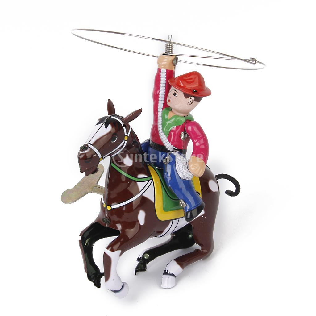 New 2015 Vintage Wind Up Tin Toy Cowboy with Whip and Spinning Lasso Free Shipping(China (Mainland))