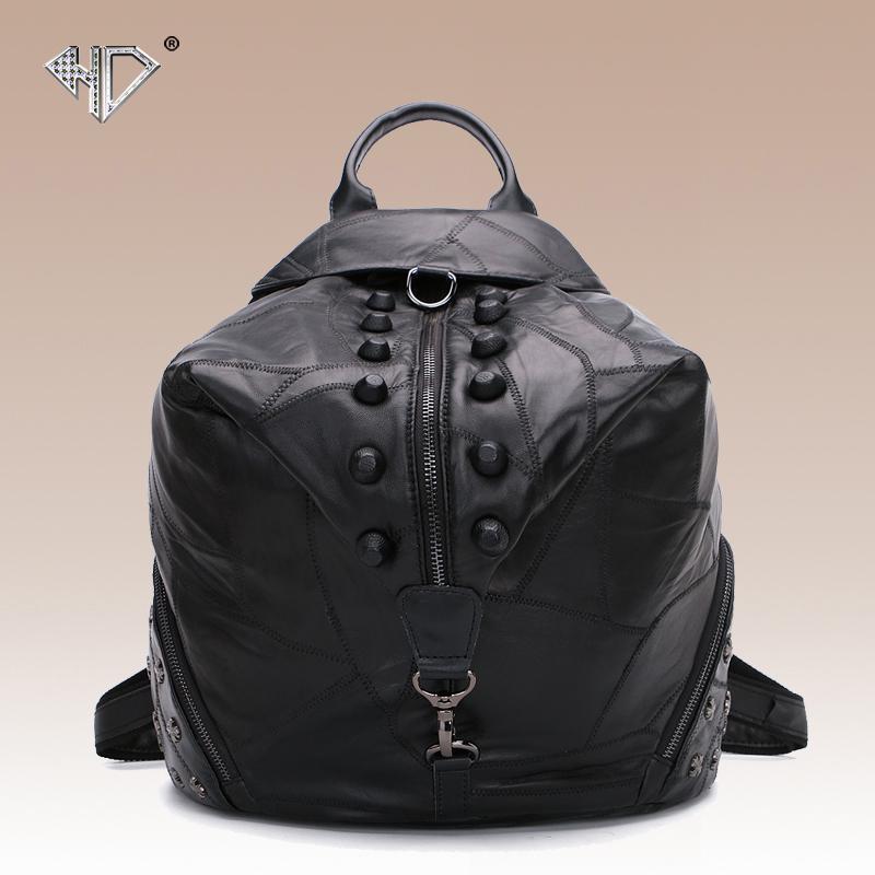 Rivet punk backpack sheepskin genuine leather patchwork women's soft bag preppy style student school bag personalized women bag()