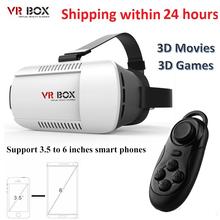Google картон VR BOX белый 3D очки виртуальной реальности HeadMount + Bluetooth беспроводной пульт дистанционного управления геймпад для смартфонов