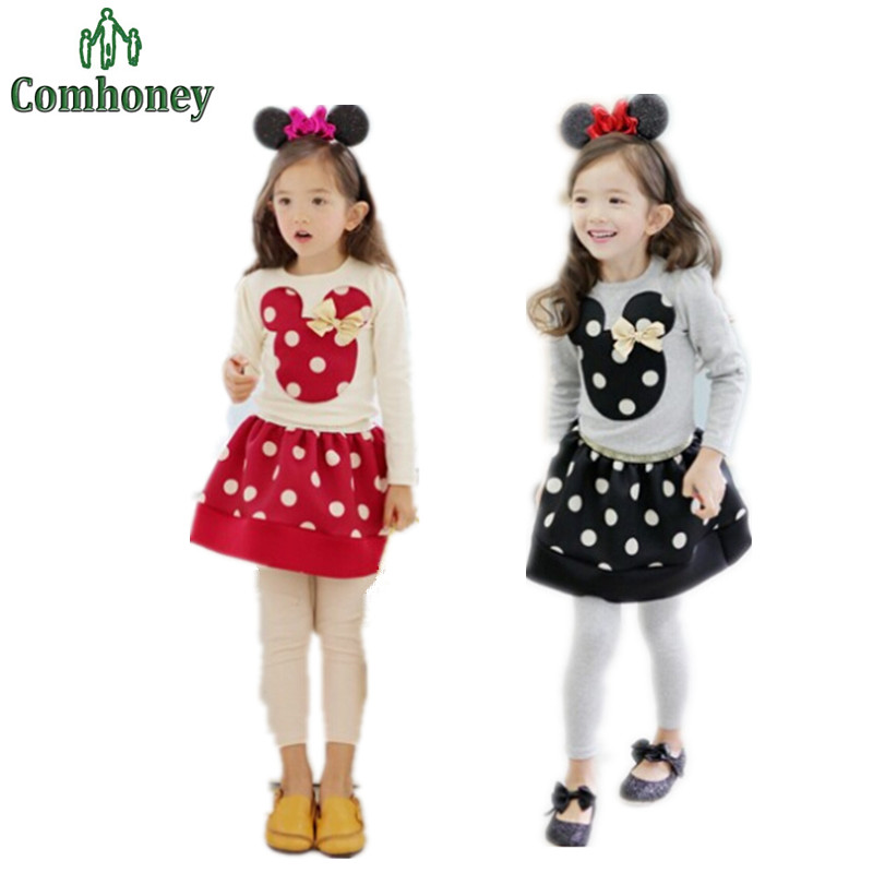 Girls Minnie Mouse Clothing Set Children Long Sleeve Shirts Tops+Polka Dot Tutu Skirt Suit Set Toddler Baby Girls Minnie Clothes(China (Mainland))