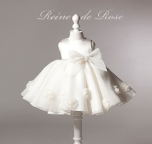 2015 hot selling white baptism dress for girls princess party flower costume children clothes 6 colors wear girl wedding dresses(China (Mainland))