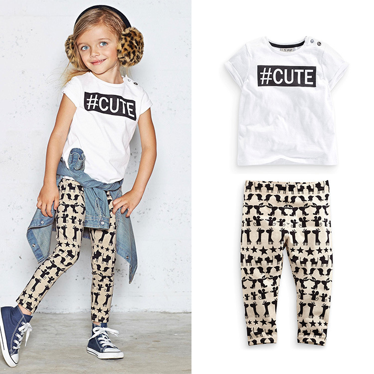 A small boy and girl summer fashion T-shirt Leggings 2 piece suit wholesale(China (Mainland))
