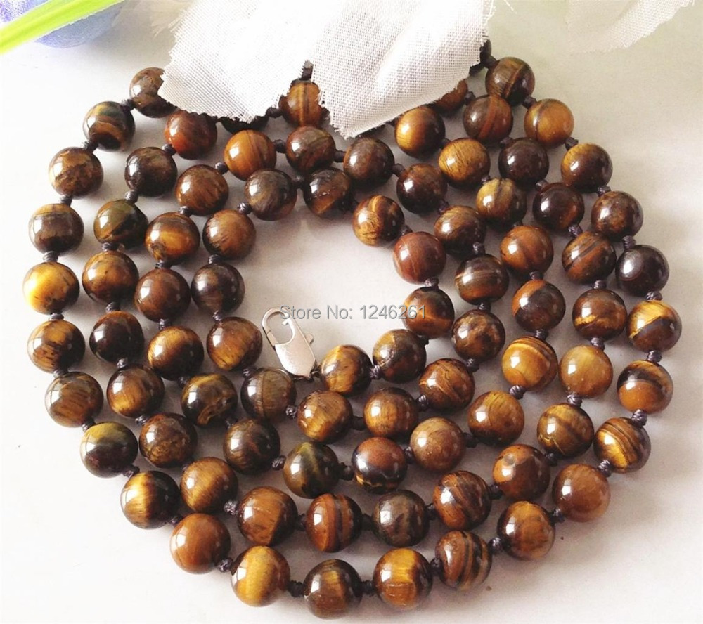 Natural 8mm African Tiger Eye Jasper Stone Beads Neckalce Fashion Jewelry Jasper Natural Stone 36 inch Wholesale Supply(China (Mainland))