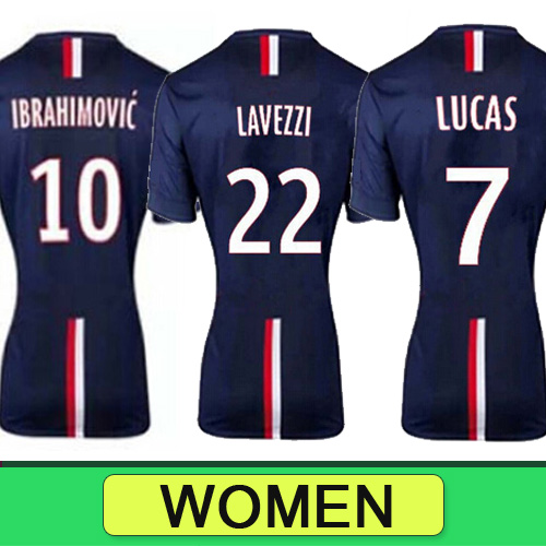 FRANCE football shirt 2015 IBRAHIMOVIC LUCAS women soccer jersey maillot LAVEZZI T.SILVA menina girl ladies camisetas de futbol(China (Mainland))