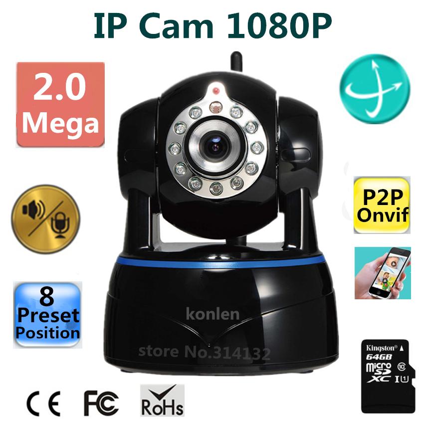 IP Camera 2mp 1080P 1/2.7 CMOS Full HD wifi wireless P2P Onvif PTZ SD Card Night Vision celular Android CCTV Network IP Kamera(Hong Kong)