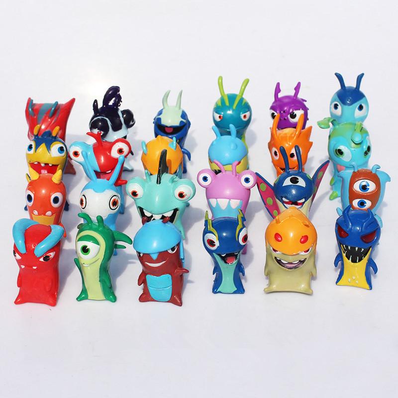 24 pcsset anime slugterra les mondes souterrains cartoon mini pvc figurines jouets poupes