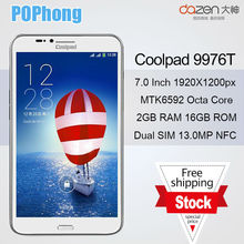 J Coolpad 1S 9976T Mtk6592 Octa Core mobile tphone 7 inch Phablet 1920x1200px 2G RAM 16G ROM 13MP Dual SIM Phone(China (Mainland))