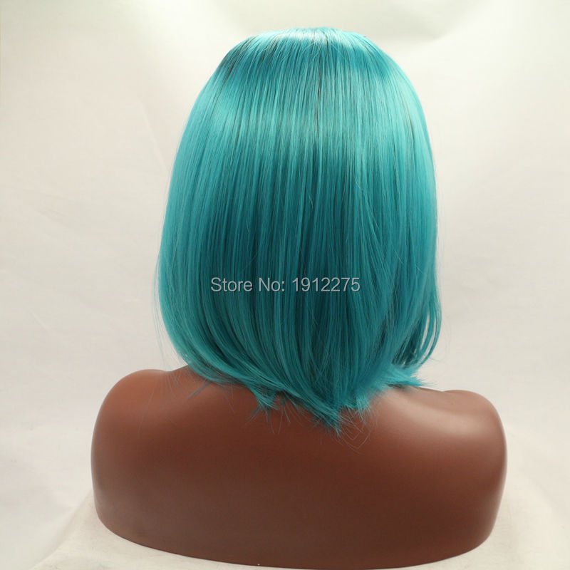 natural black hair short bob lace front wigs synthetic hair wig for women heat resistant black color in stock
