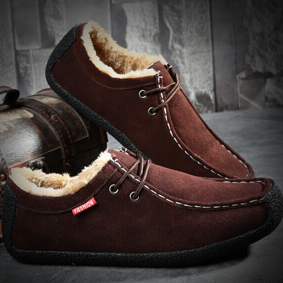 Snail winter shoes men casual shoes driving shoes low shoes boat shoes plus velvet padded shoes large size shoes 45 yards snow b