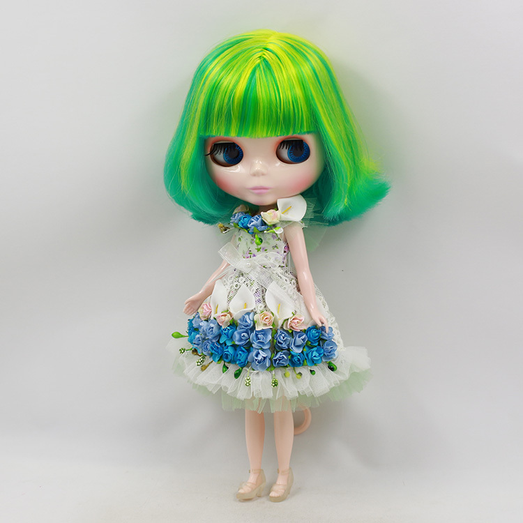 Фотография Blyth Nude Doll For Series No.BL40033208  green mix yellow  Hair  Suitable For DIY Change  Toy For Girls