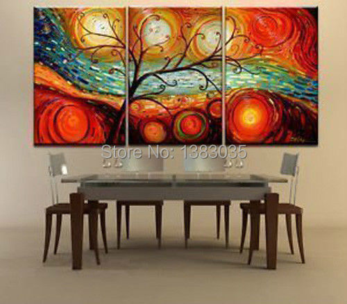 Hand painted tree landscape oil paintings on canvas 3 for Dining room wall art canvas