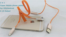 New Arrive Two In One Micro USB Mobile Phone Cables 85CM Zipper Data Line Sync Charger Cable For IOS And Android Smartphone