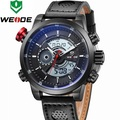 WEIDE Men Watch 2015 Original Japan Miyota 2035 Sports Watches Genuine Leather Band Quartz and LCD Digital Movement 6 Colors