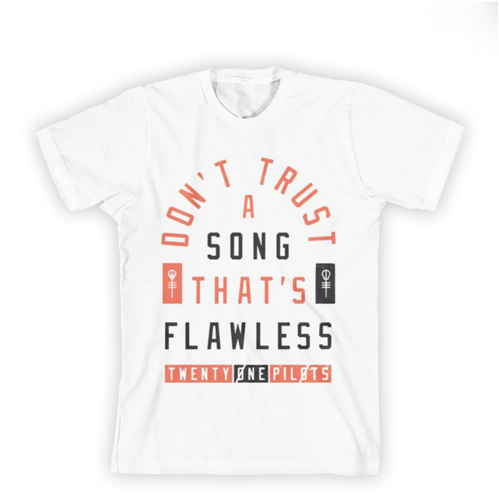 100% Cotton Men T Shirt Fashion Design Twenty One Pilots Flawless Song Print Off White New Slim Fitness Tshirt Men Clothes 2XL(China (Mainland))