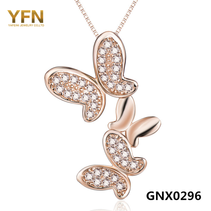 GNX0296 Genuine 925 Sterling Silver Butterfly Pendant Necklace Wholesale Cubic Zirconia Necklace Romantic Jewelry For Women(China (Mainland))