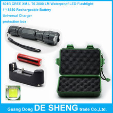 501 led flashlight cree xm-l t6 2000lm Waterproof torch + 1*18650 Rechargeable Battery + Universal Charger + protection box(China (Mainland))