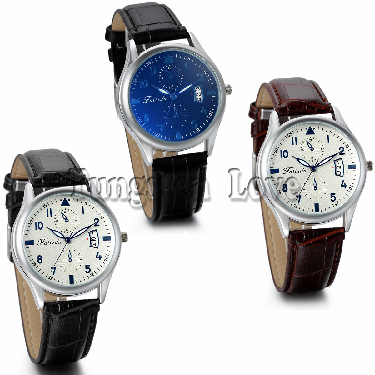 Classic Quartz Alloy Numeral Round PU Leather Strap Wrist Watch For Men Business Watch with Auto Date Blue Dial(China (Mainland))