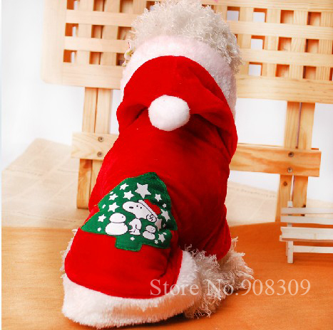 New fall winter Christmas Tree pet dog clothes for Xmas, dog hooded coat sweater,outfit for pets(China (Mainland))