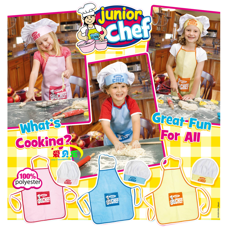 Child chef apron child cook cap cook suit baby apron(China (Mainland))