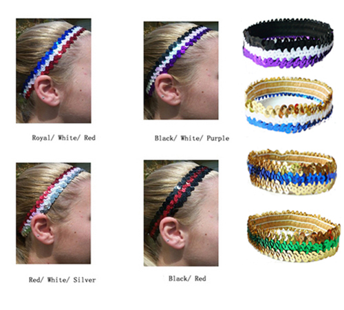 20 pieces/lot Combo Softball Sequin Headbands Stretch Sports Glitter Headbands For Woman Girls Volleyball Basketball(China (Mainland))