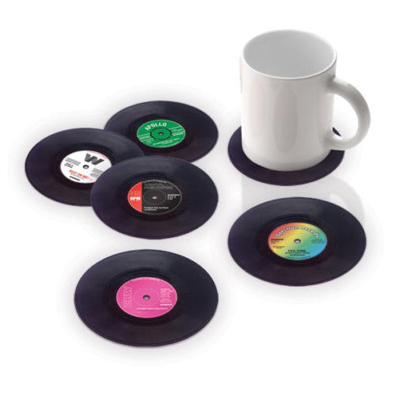 6 Pcs/Set Fashion Vintage Vinyl Record Home Table Cup Mat Coasters Set Retro Vinyl CD Record Drinks Coaster Cup Mat Set(China (Mainland))