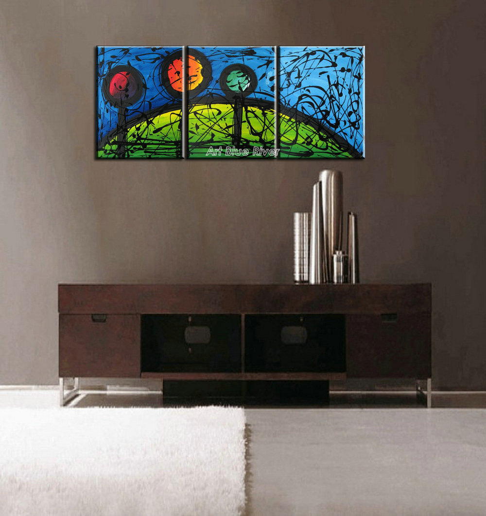 Modern 3 muti panel canvas wall art acrylic picture abstract painting landscape oil painting set supplier for living room wall(China (Mainland))