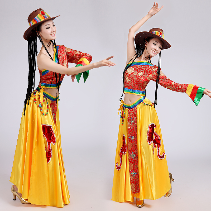 Women Tibetan Dance Costumes Child Mongolian Dance Costumed Clothing Stage Wear Dance Skirt Gown Chinese Folk Dance Costume 89(China (Mainland))