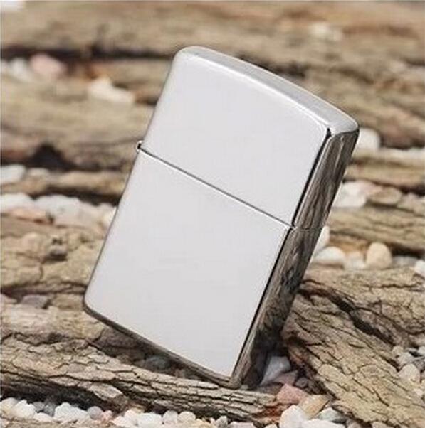 1pcs classic men smooth Polished Mirror Metal Oil Cigarette lighter Smoking cool smoking cigar flint kerosene