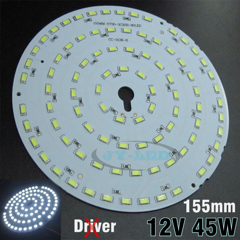 Excellent Quality 45W 155mm DC12V LED PCB, Input DC 12V Needn't Driver SMD5730 Super Brightness Aluminum Lamp plate(China (Mainland))