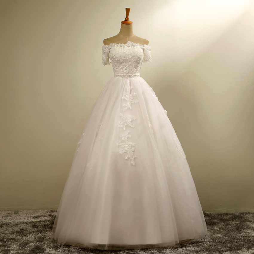 Dreaming ball gown off the shoulder short sleeves wedding for Short beaded wedding dress