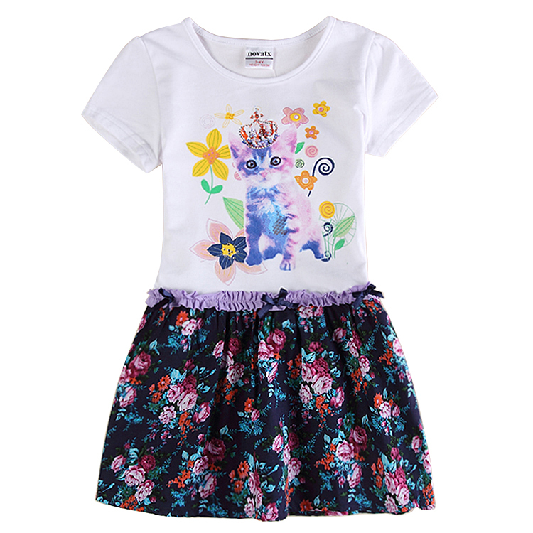 2015 new style casual children clothing summer style girl dress appliques cat brand nova kids clothes dress for girls H6332D(China (Mainland))