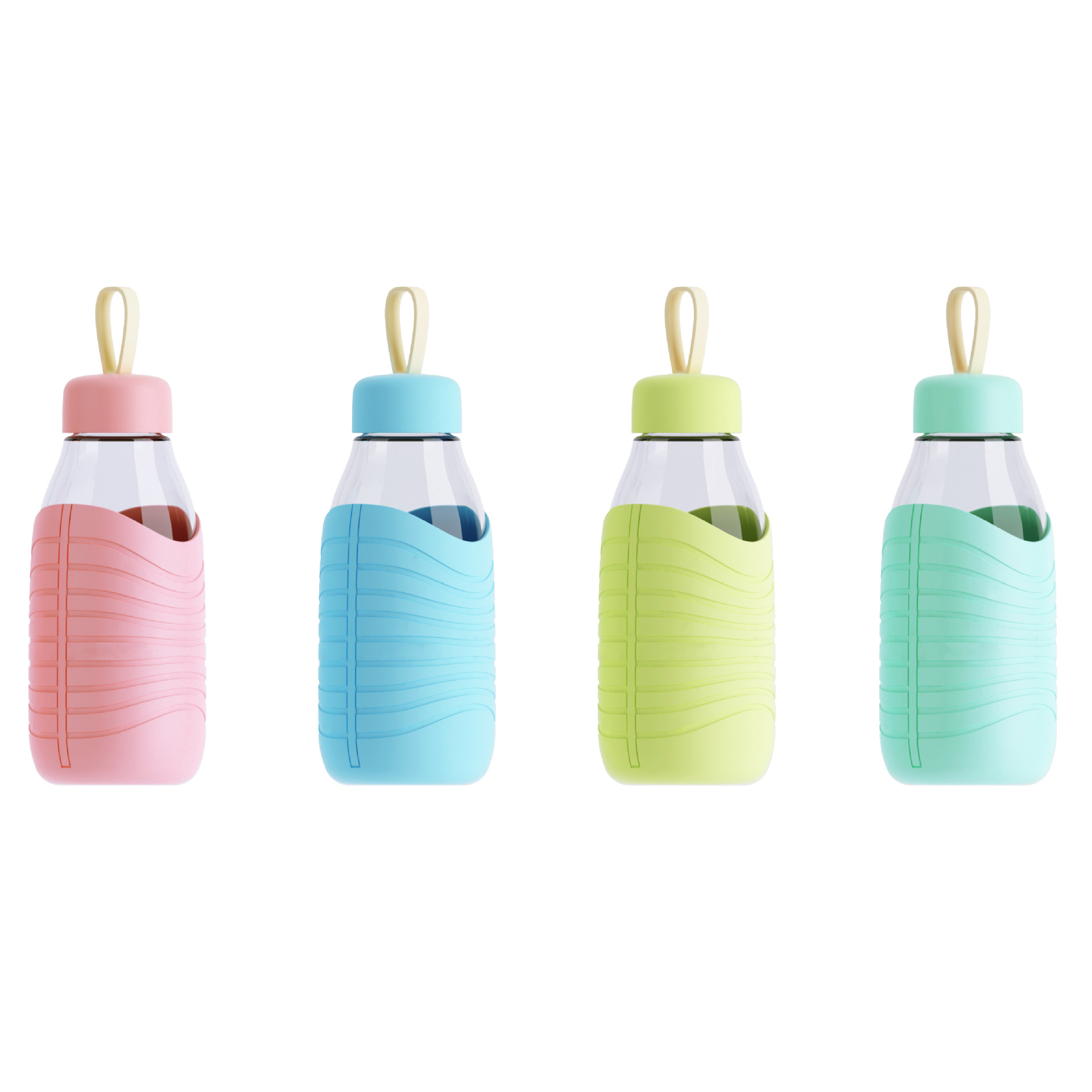 Hot 420ml Candy Color Glass Bottle Silicone Creative Mug Sweet Bottles Eco-Friendly Camping Travel Cup(China (Mainland))