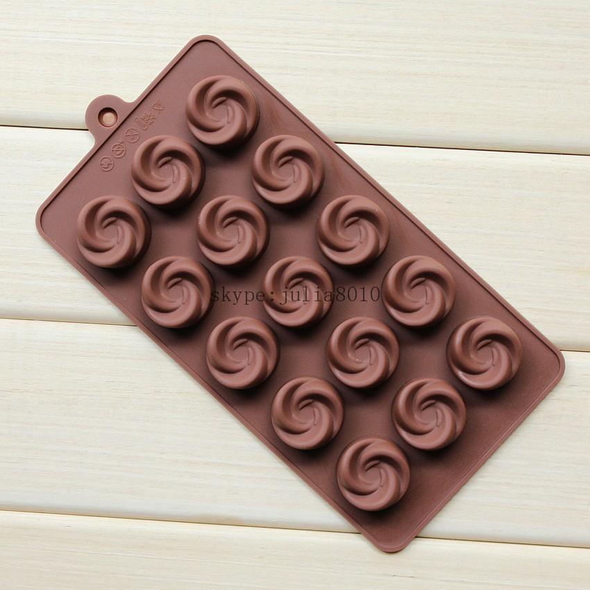 Silicone Ice cube 15 lattices rose flower shape swirls chocolate molds cake moulds SICM-115-17(China (Mainland))
