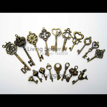 18x Antique Vtg Old Look Decor Skeleton Key Pendant Bow Steampunk Charms Jewelry 10(China (Mainland))