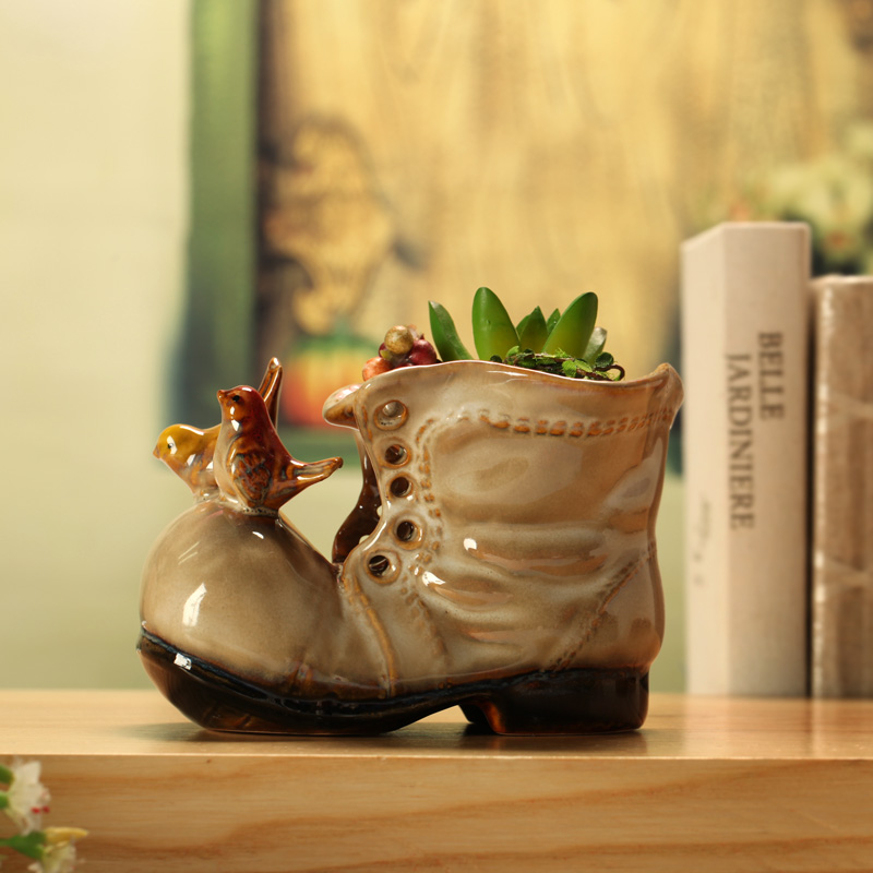 Ceramic boots flower shoes home decoration crafts small flower pot pen 7879 - 1(China (Mainland))