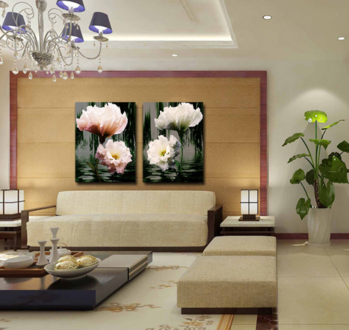 Linen daffodil flower oil Wall Painting for Living room decoration Art Paint on canvons 2 pieces 50x70cm CY10(China (Mainland))