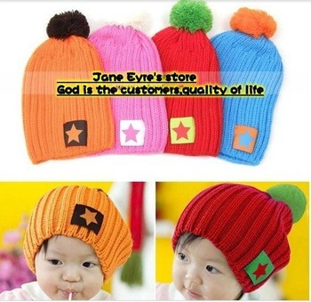 2013 Best Selling Fashion Five-Star  Children  Winter Knitted Cap Cute Baby Kids Hat 6 month -4 years old  4 colors