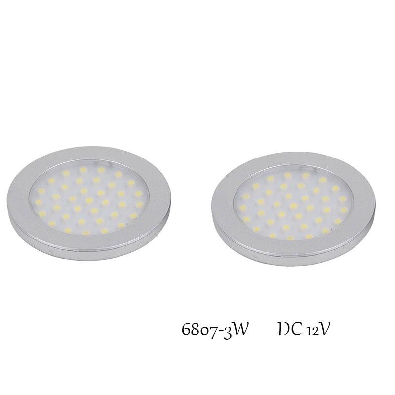 New 3W LED Aluminum Light Round 12v Led Puck Lights in Showcase Closet Furniture Lighting LED Under Cabinet lamps 2pcs/lot(China (Mainland))