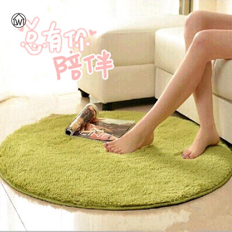 Modern Style Fluffy Round Silky Soft Area Rug Non Slip Shower Bedroom Mats Door Floor Carpet Living Room Yoga Mat Color Optional(China (Mainland))