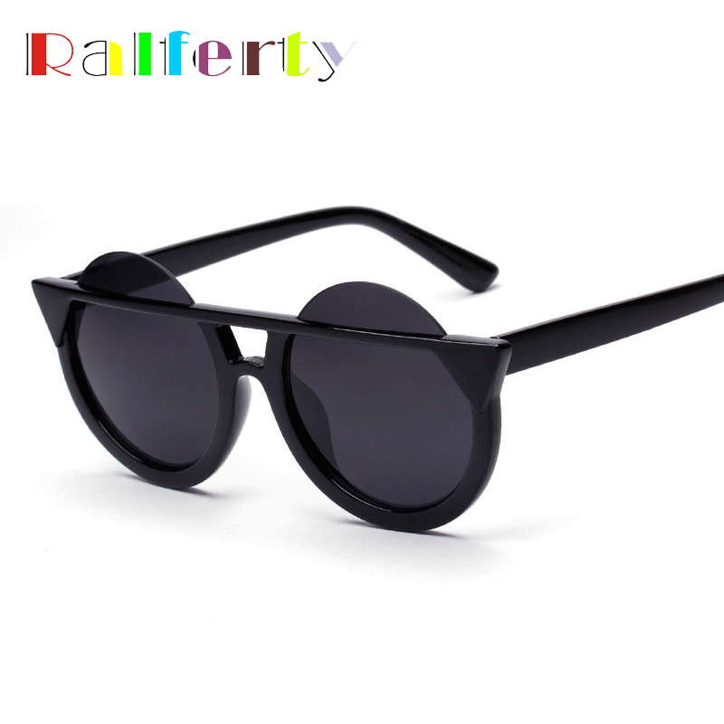 Ralferty Fashion Ladies Round Lens Cat Eye Sunglasses Women Mirrored Sun Glasses For Woman, Female Cateye Shades Oculos 758(China (Mainland))