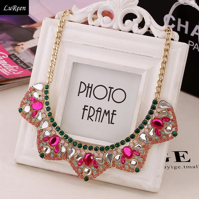 LuReen Fashion Pink Crystal Jewelry Gold Fake Collar Vintage Glass Women Statement Necklace 0N314(China (Mainland))