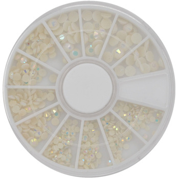 YZWLE 1 Wheel Mixed 3 size 2-4mm 3D White AB Round Resin Rhinestone Nail Art Decoration Phone Gems Wheel Tips