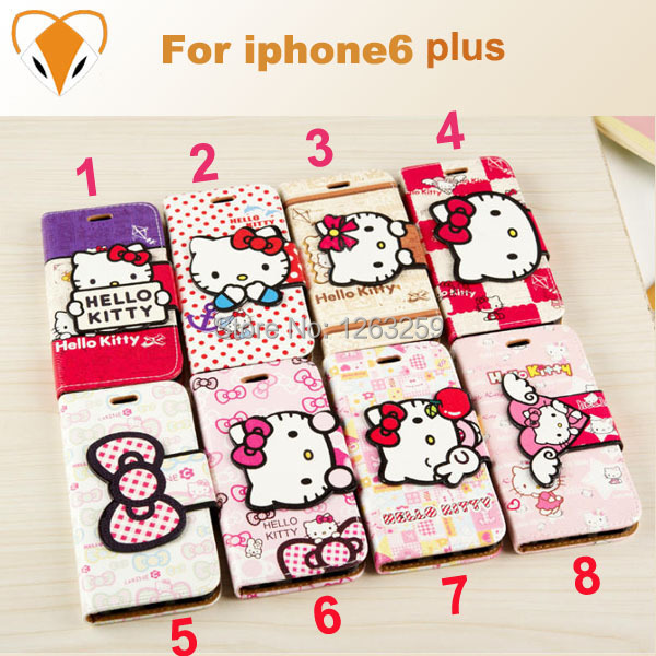 New Arrival For iphone6 case Hello kitty phone bags cover TPU back case For iphone6 plus 5.5 Leather Case With Stand&Card Holder(China (Mainland))