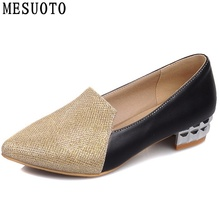 Buy MESUOTO Casual Low Heels Pointed Tow Slip Womens Shoes Elegant Sequins Spring Air Woman Pumps Large Size 40 43 for $20.57 in AliExpress store