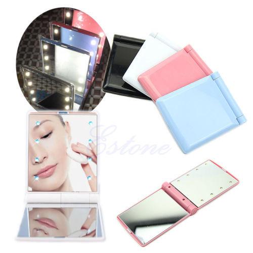 Lady Makeup Cosmetic Folding Portable Compact Pocket Mirror 8 LED Lights Lamps(China (Mainland))