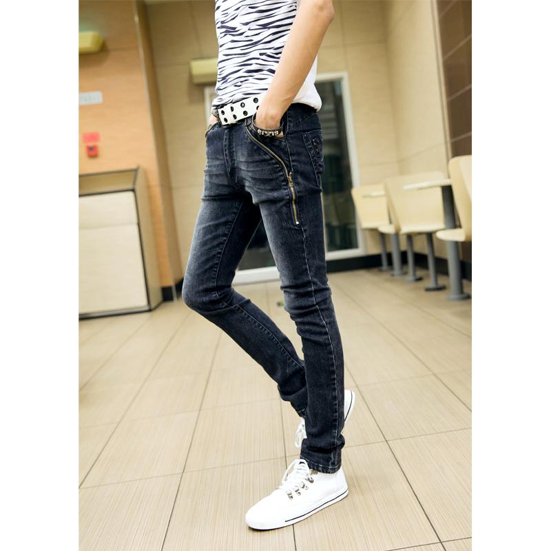 2016 New Men Zipper Fly Light Cotton Mid Softener Pencil Pants Casual Clothing Youth Cowboy Slim Jeans Hot Sale Pants J118