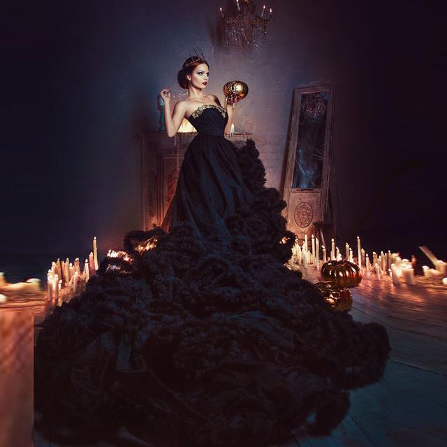 Великолепная сексуальные черные свадебные платья из бисера блестками off-плечи Vestido де Noiva спинки долго свадебное платье линии свадебные платья
